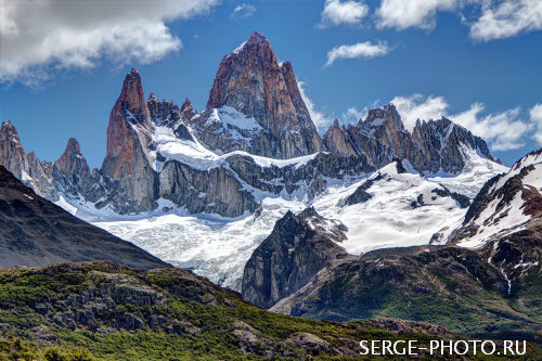 Fitz Roy  Fitz Roy (3405 m) located in the Southern Patagonian Ice Field, on the border between Argentina and Chile. First climbed in 1952 by French alpinists Lionel Terray and Guido Magnone, it remains among the most technically challenging mountains on Earth for mountaineers.