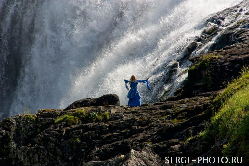 Huldra  Kjosfossen waterfall is haunted in local legend by Huldra, a woman whose dress concealed a cow's tail, which she could only shed by snaring a husband.